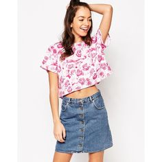 Motel Box CRop Tee in Monorose ($26) ❤ liked on Polyvore featuring tops, t-shirts, monorose pink, round neck crop top, pink tee, all over print t shirts, crop t shirt and crop top