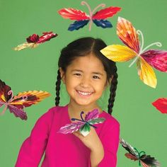 Beautiful, brightly colored butterflies made from bendy pipe cleaners and bits of pretty paper #artsandcrafts #kids #kidscrafts