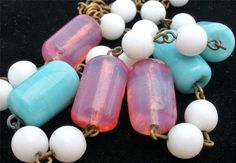 Vintage Turquoise Pink Glass Necklace Beads Poured Milk White Blue Opalescent | eBay