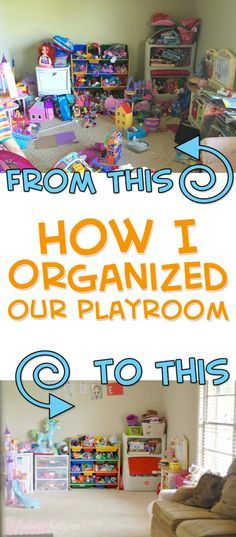 This blogger has great ideas for how to organize a playroom!  She has a few cheap & DIY solutions too.  Great ways to clean a messy space!