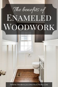 Home Remodeling Tips The Benefits Of Enameled Woodwork - Learn about enameled woodwork and why it is a better choice than regular paint for better looking and more durable trim throughout the house! Bathroom Styling, Bathroom Lighting, Home Renovation, Home Remodeling, Kitchen Remodeling, Do It Yourself Inspiration, Wainscoting, My Living Room, Home Improvement Projects