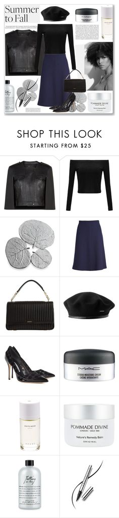 """Summer to fall ! #layers"" by arohii ❤ liked on Polyvore featuring Balmain, BCBGMAXAZRIA, Michael Aram, St. John, DKNY, Manolo Blahnik, MAC Cosmetics, Roads, Pommade Divine and philosophy"