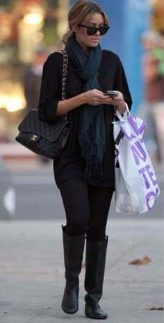 Where can I get Lauren Conrad's scarf, black pants, purse and sunglasses?