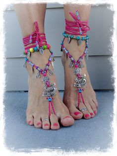 Hot PINK DRAGON BAREFOOT sandals Triskele Anklets crochet Gypsy Wanderlust barefoot jewelry Toe Anklet wrap sandal Chinese Zodiac GPyoga