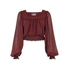 River Island Dark Purple Chelsea Girl Crop Gypsy Top ($15) ❤ liked on Polyvore featuring tops, blouses, shirts, crop tops, crop top, red blouse, red shirt, long sleeve shirts and long sleeve chiffon shirt