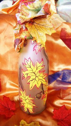 Autumn Leaves HandPainted Frosted Bottle by Fyrewerks on Etsy, $15.00