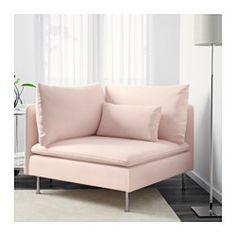 IKEA - SÖDERHAMN, Corner section, Samsta light pink, SÖDERHAMN seating series allows you to sit deeply, low and softly with the loose back cushions for extra support. The cover is easy to keep clean as it is removable and can be machine washed. Ikea Soderhamn, Ikea Bank, Small Couch, Interior Design Software, White Couches, Corner Chair, Cafe Interior, Sofa Set, Home Furnishings