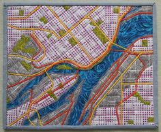 I love this map art quilt. Quilts in the Wild: Celebrating the Quilting Arts in Culture Quilt Studio, Map Quilt, Quilt Blocks, Quilt Art, Mini Quilts, Scrappy Quilts, Textiles, Map Projects, Landscape Quilts