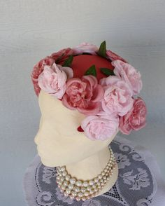 1950s Hat // Pink Floral Hat // Headband Hat by FoxyBritVintage, $28.50