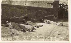 The bodies of 3 men lying at the foot of the wall where they were moments before executed by a Mexican Rebel Firing Squad. Cristero War, Mexican Revolution, Pancho Villa, Tx Usa, Rare Images, Bad Timing, Old West, Vintage Postcards, Archaeology
