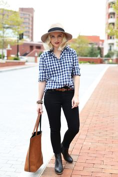 Poor Little It Girl - Blue Gingham Shirt and Black Jeans - @poorlilitgirl