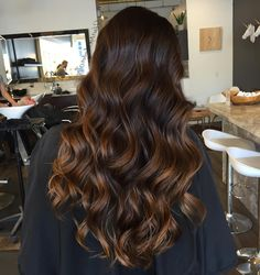 dark brown hair with caramel balayage                                                                                                                                                                                 More