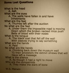 Some last questions by W.S. Merwin