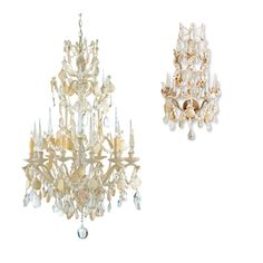 Cascading Shells & Crystals Chandelier and Wall Sconces