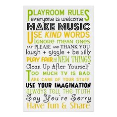 Playroom Rules Poster same poster we got for dc