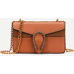 SheIn(sheinside) Metal Detail Faux Leather Chain Bag (525 CZK) ❤ liked on Polyvore featuring bags, handbags, shoulder bags, brown, crossbody chain purse, faux leather crossbody purse, faux leather crossbody, crossbody purses and chain shoulder bag