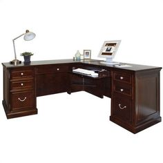 Furniture Fulton Double Pedestal L-Shaped Computer Desk & Reviews
