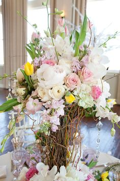 Tablescape ● Centerpiece ● garden inspired