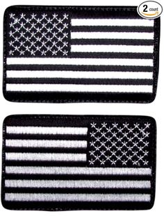 """[2 Set Count] Custom, Cool & Awesome {2 1/4"""" x 3 1/2"""" Inches} Rectangle Patriotic Morale Left & Right Facing American Flag Arm Badge (Tactical Type) Velcro Patch """"White & Black"""""""