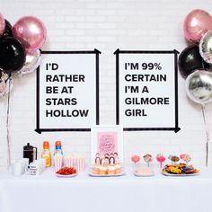 Gilmore Girls Party Gilmore Girls Viewing Party Do Your Own Landscaping Design Know what I love abou Girl Birthday Decorations, Birthday Party Themes, Babette Ate Oatmeal, Gilmore Girls Quotes, Girlmore Girls, My Bridal Shower, Baby Shower, Hello Kitty Birthday, Girl Themes