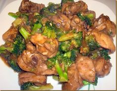 CHICKEN WITH BROCOLLI = Ingredients:      2 lbs. Chicken, skin removed and sliced into serving pieces     2 bunch fresh broccoli, cut into bite pieces     6 cloves garlic, minced     1/2 pc. onion, minced     2 thumbs ginger, minced     3 tbsps. soy sauce     3 tbsps. oyster sauce     3 tbsps. Worcestershire sauce     3 tbsps. sesame oil     2 tbsps. cornstarch or all-purpose flour, diluted in 2 cups water     1 tsp. ground black pepper     3 tbsps. olive or any cooking oil===