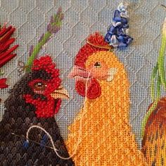 Making progress! Just one more bird to go and they're done!! #needlepoint #ndlpt