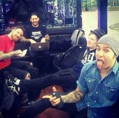 Fall out boy just hangin out. They are the best :)
