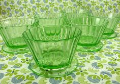 depression glass custard cups set of 6 by AM of Gen X Quilters, via Flickr