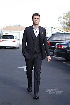 "Ryan Seacrest minutes before ""American Idol's"" March 14 episode. Suit by Burberry, shoes by George Esquivel. GORGEOUS LOOK! Sharp Dressed Man, Well Dressed Men, On Air Radio, Ryan Seacrest, Esquivel, Mens Trends, Burberry Shoes, Elegant Man, American Idol"