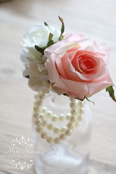 Made to order items The price is for one corsage. Processing time: 5 working days.   Silk Flower Roses in pink with white color flowers. Size: Roses about 7cm The pictures are showing 03 blush ribbon.   Type and details of products: For pearl wrist corsage – Imitation pearl cuff