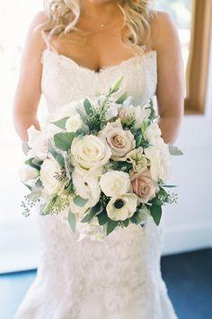 Anemone, hydrangea, lamb's ear, and rose wedding bouquet: Photography : Carmen Santorelli Photography Read More on SMP: http://www.stylemepretty.com/california-weddings/lake-tahoe-ca/2016/12/09/family-focused-lake-tahoe-wedding/