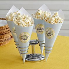 BBQ Popcorn Cones - Greet guests with these clever Popcorn Cones personalized with Avery® labels. Get template.