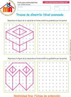 Ejercicio 01 nivel avanzado: Actividades escolares de trazos de simetría para desarrollar la memoria y la atención con los niños.