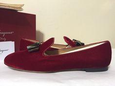 Salvatore Ferragamo Scotty T Rosso Velluto TV Women's Fashion Loafer Flat 7, 7.5 #SalvatoreFerragamo #FashionSlipOnFlatsLoafers #Casual