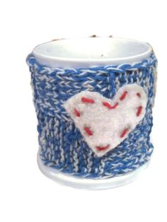 Excited to share the latest addition to my #etsy shop: Knit Blue white Cozy Cup with white Felt Heart and Crochet Wool Button
