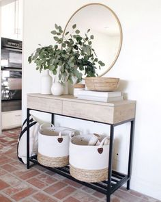 Our console table is in stock and off today using code FREEDOM (linked in bio).🎊 Did a little summer styling around the house this… 41 Entry Table Ideas to Liven up Your House in Details RH console table Decoration Hall, Basket Decoration, Decorations, Living Room Decor, Decor Room, Hallway Table Decor, Entryway Console Table, Console Table Living Room, Console Table Styling