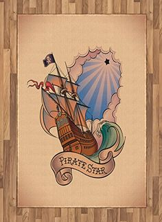 Fantasy Area Rug by Lunarable, Vintage Pirate Star Yacht Treasure Legendary Journey Themed Illustration, Flat Woven Accent Rug for Living Room Bedroom Dining Room, 4 x 6 FT, Peach Cinnamon Blue