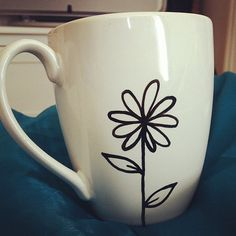 Mother's Day Hand Painted Mug  Flower and Buzz by QuiteRidiculous, £4.99