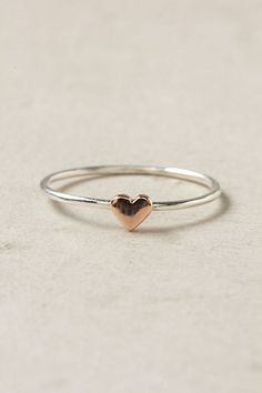 Anthropologies Wee Heart Ring, Rose Gold