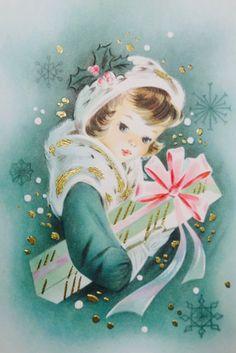 #retrochristmas Vintage Christmas Card. Christmas Girl.