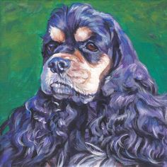 Another Seamus painting!  American Cocker Spaniel art print Canvas print of by TheDogLover