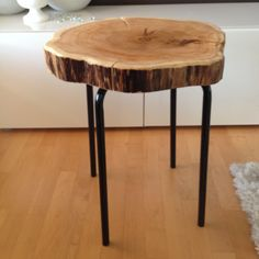 Stump End Table - Ceda Wood table with metal legs. www.serenitystumps.com