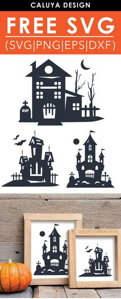 cricut vinyl projects Free Haunted House SVG, PNG, EPS & DXF by Caluya Design. Compatible with Cameo Silhouette, Cricut and other major cutting machines!Perfect for your DIY proje Halloween Projects, Diy Halloween Decorations, Halloween Crafts, Halloween Design, Planner Stickers, Calendar Stickers, Vinyl Projects, Diy Craft Projects, Craft Ideas