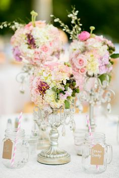 table decor with mason jar mugs & flowers in silver