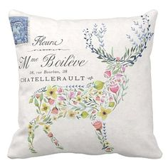 Pillow Cover Floral Deer Silhouette Woodland Decor by Jolie Marche on Etsy