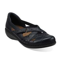 """Clarks Shoes Women Navy Blue Clarks Women's Ashland Rivers Shoe                                 100% Leather Upper                    Manmade sole                    Heel measures approximately 1.25""""                    Bendables technology maximizes flexibility under foot"""