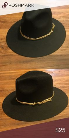Black hat with gold rope detail Excellent condition. Accessories Hats