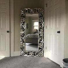Exquisitely crafted for any glamour queen, the Lucia floor mirror is a splendid accent. Antique silver finish brings life to the ornate scroll design. Home Bedroom, Bedroom Decor, Home Interior, Interior Design, Mirrored Bedroom Furniture, Home And Deco, Home Fashion, My New Room, Home And Living