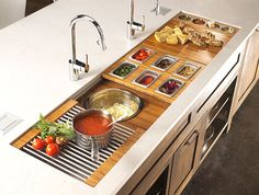 The ultimate prep kitchen- the Galley Sink Workstation 7 has everything yo need to make food preparation and serving a delight. Prep Kitchen, Rustic Kitchen, Kitchen Storage, Kitchen Dining, Kitchen Decor, Kitchen Sinks, Kitchen Ideas, Kitchen Island, Cuisines Design