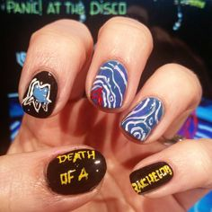 """""""Death of a Bachelor nails! In celebration of one of my favorite bands from middle/high school releasing their new album today! . Products used: OPI Black…"""""""